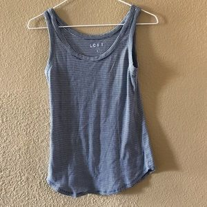 Loft navy and white striped tank top